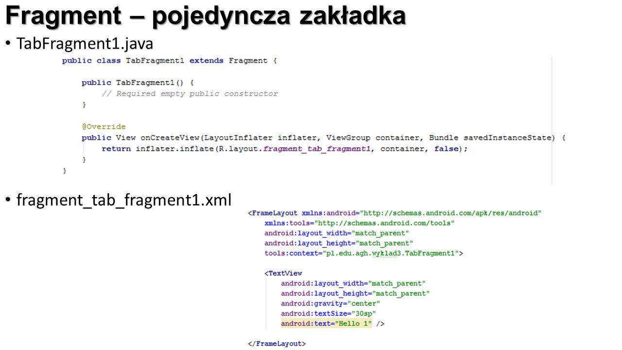 TabFragment1.java fragment_tab_fragment1.xml Fragment – pojedyncza zakładka