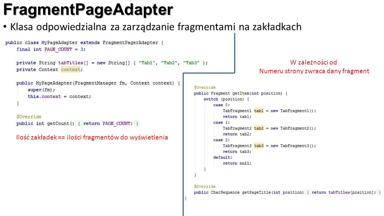 FragmentPageAdapter Klasa odpowiedzialna za zarządzanie fragmentami na zakładkach W zależności od Numeru strony zwraca dany fragment Ilość zakładek == ilości fragmentów do wyświetlenia Etykiety zakładek