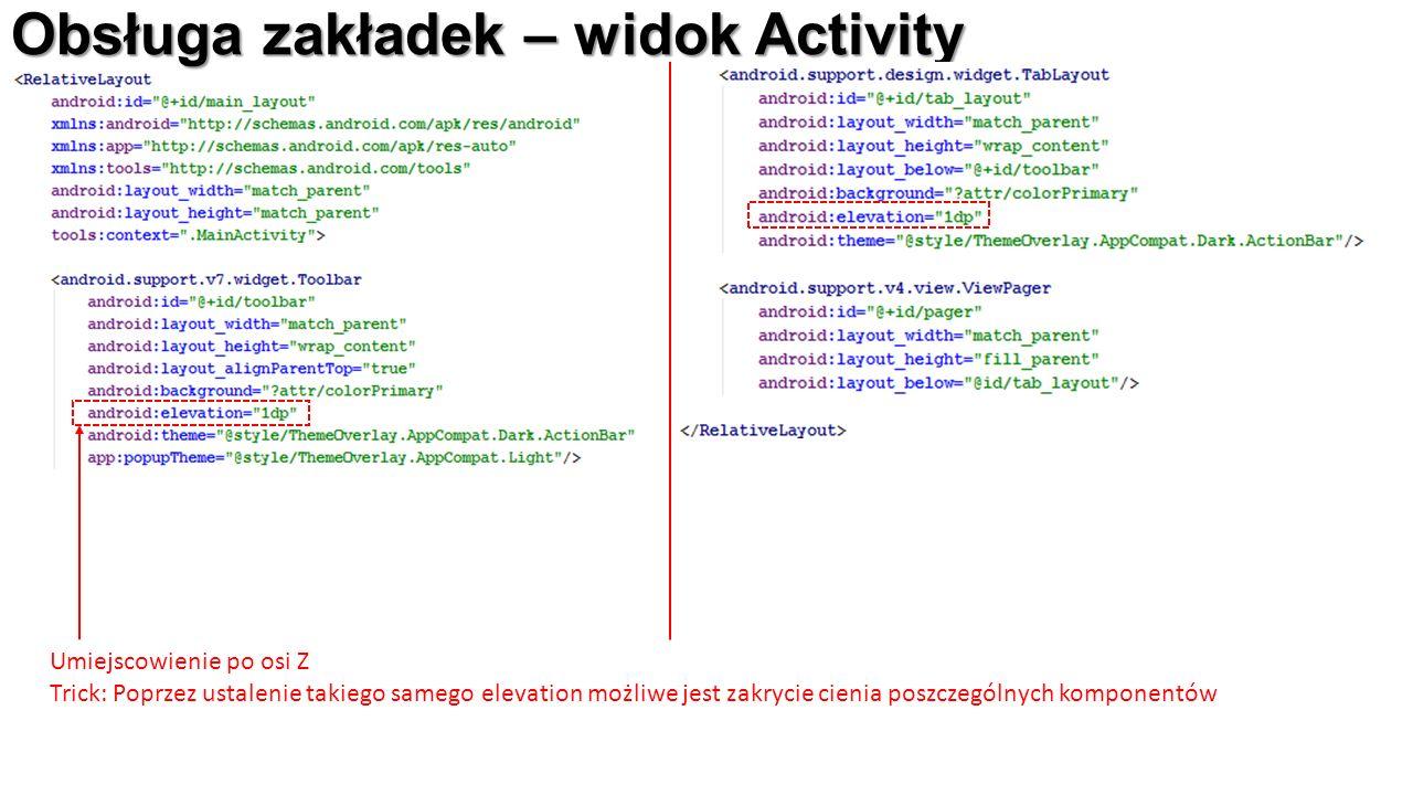 Obsługa zakładek – widok Activity Umiejscowienie po osi Z Trick: Poprzez ustalenie takiego samego elevation możliwe jest zakrycie cienia poszczególnych komponentów