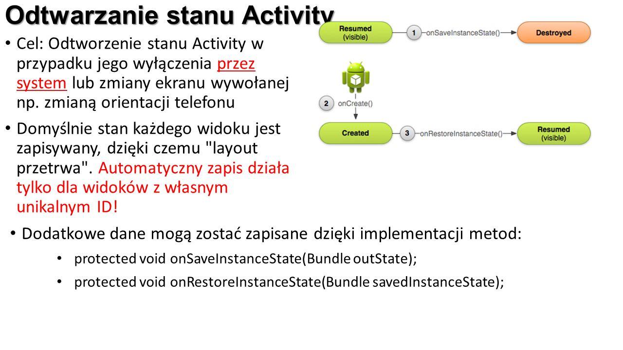 Odtwarzanie stanu Activity Cel: Odtworzenie stanu Activity w przypadku jego wyłączenia przez system lub zmiany ekranu wywołanej np.