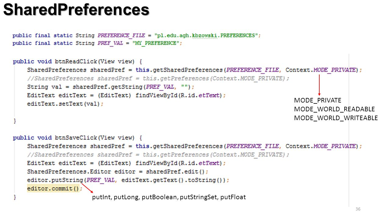 SharedPreferences 36 MODE_PRIVATE MODE_WORLD_READABLE MODE_WORLD_WRITEABLE putInt, putLong, putBoolean, putStringSet, putFloat