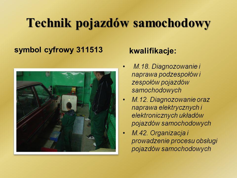 Technik pojazdów samochodowy symbol cyfrowy 311513 kwalifikacje: M.18.