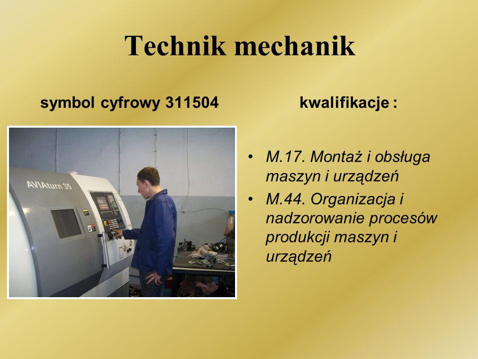 Technik mechanik symbol cyfrowy 311504kwalifikacje : M.17.