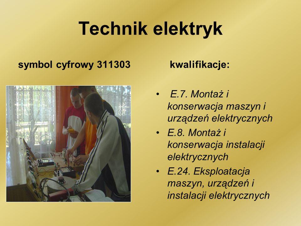 Technik elektryk symbol cyfrowy 311303 kwalifikacje: E.7.