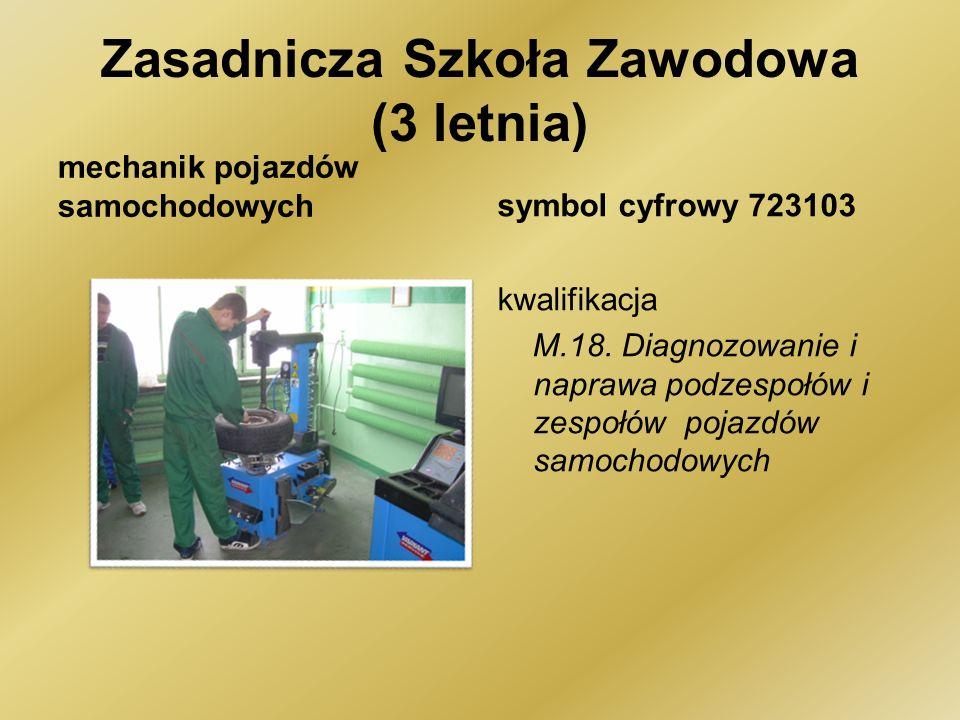 Zasadnicza Szkoła Zawodowa (3 letnia) mechanik pojazdów samochodowychsymbol cyfrowy 723103 kwalifikacja M.18.