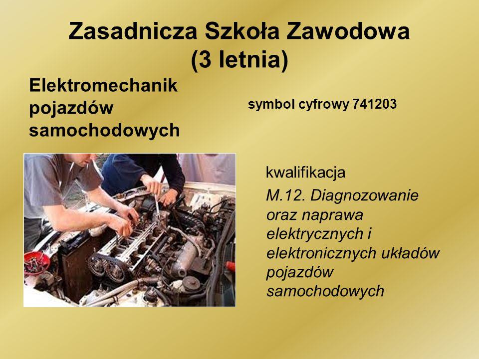 Zasadnicza Szkoła Zawodowa (3 letnia) Elektromechanik pojazdów samochodowych symbol cyfrowy 741203 kwalifikacja M.12.