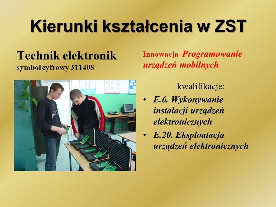 Kierunki kształcenia w ZST Technik elektronik symbol cyfrowy 311408 Innowacja - Programowanie urządzeń mobilnych kwalifikacje: E.6.