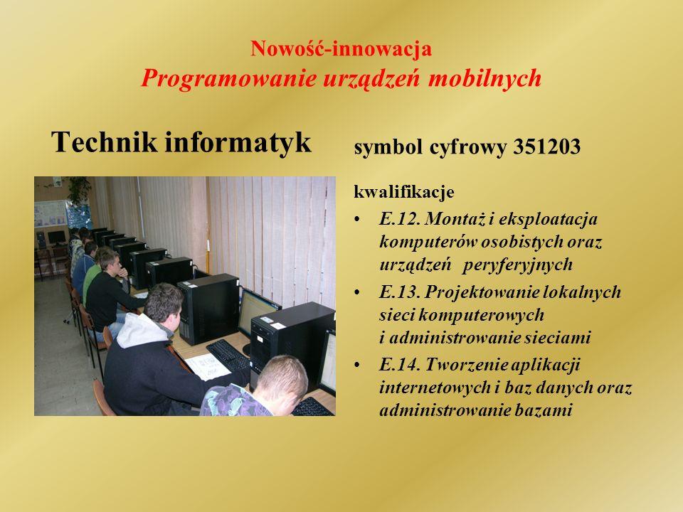 Nowość-innowacja Programowanie urządzeń mobilnych Technik informatyk symbol cyfrowy 351203 kwalifikacje E.12.