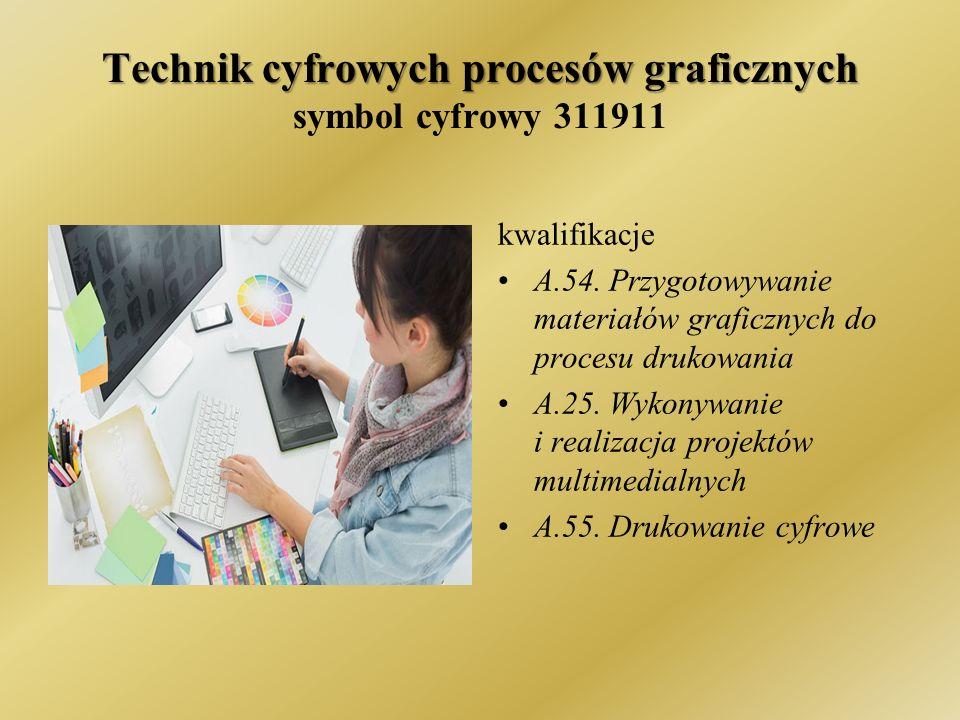 Technik cyfrowych procesów graficznych Technik cyfrowych procesów graficznych symbol cyfrowy 311911 kwalifikacje A.54.