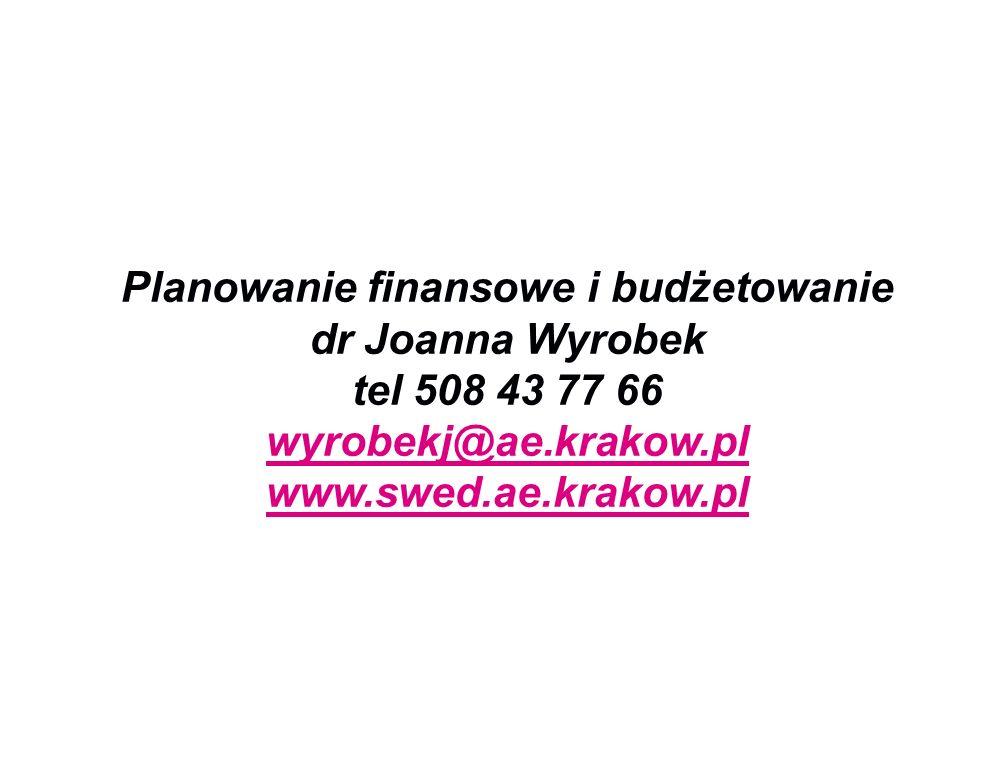 Planowanie finansowe i budżetowanie dr Joanna Wyrobek tel 508 43 77 66 wyrobekj@ae.krakow.pl www.swed.ae.krakow.pl