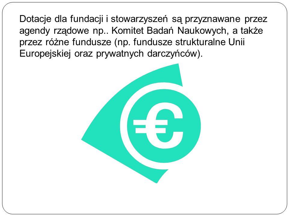 Dotacje dla fundacji i stowarzyszeń są przyznawane przez agendy rządowe np..