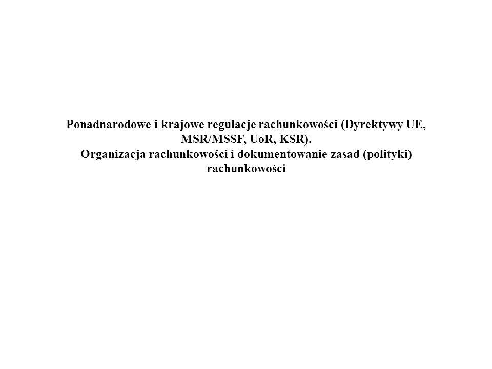Ponadnarodowe i krajowe regulacje rachunkowości (Dyrektywy UE, MSR/MSSF, UoR, KSR).