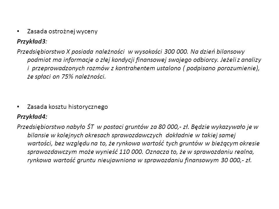 Zasada ostrożnej wyceny Przykład3: Przedsiębiorstwo X posiada należności w wysokości 300 000.
