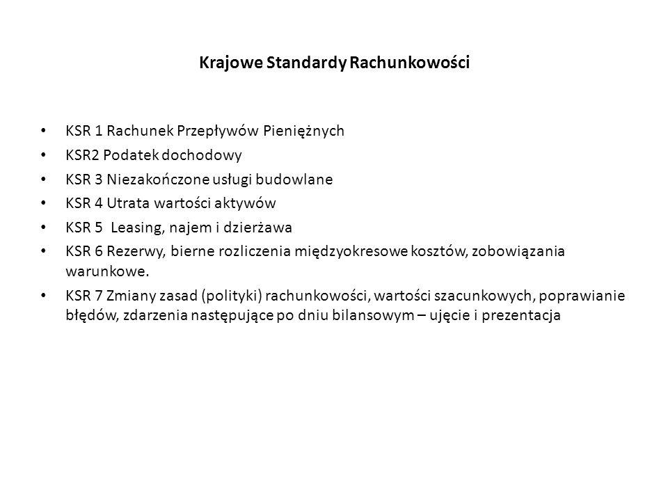 Krajowe Standardy Rachunkowości KSR 1 Rachunek Przepływów Pieniężnych KSR2 Podatek dochodowy KSR 3 Niezakończone usługi budowlane KSR 4 Utrata wartości aktywów KSR 5 Leasing, najem i dzierżawa KSR 6 Rezerwy, bierne rozliczenia międzyokresowe kosztów, zobowiązania warunkowe.