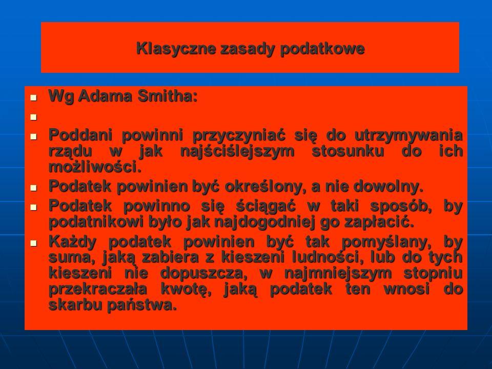 Klasyczne zasady podatkowe Wg Adama Smitha: Wg Adama Smitha: Poddani powinni przyczyniać się do utrzymywania rządu w jak najściślejszym stosunku do ich możliwości.
