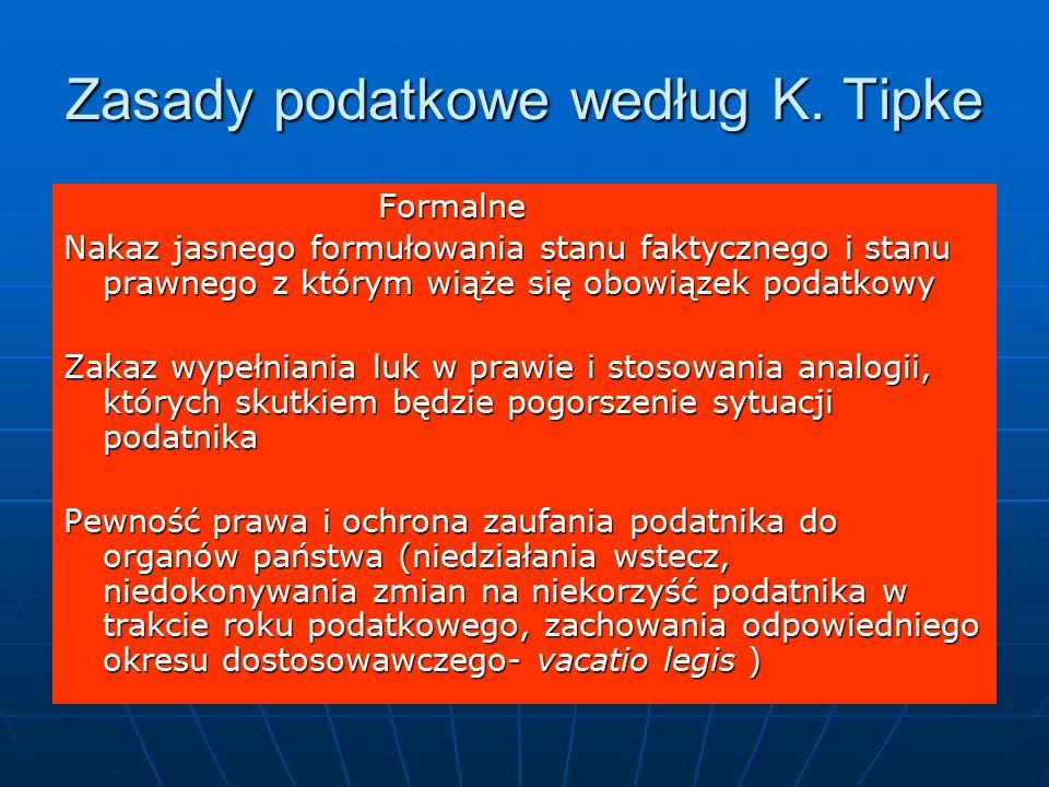 Zasady podatkowe według K.