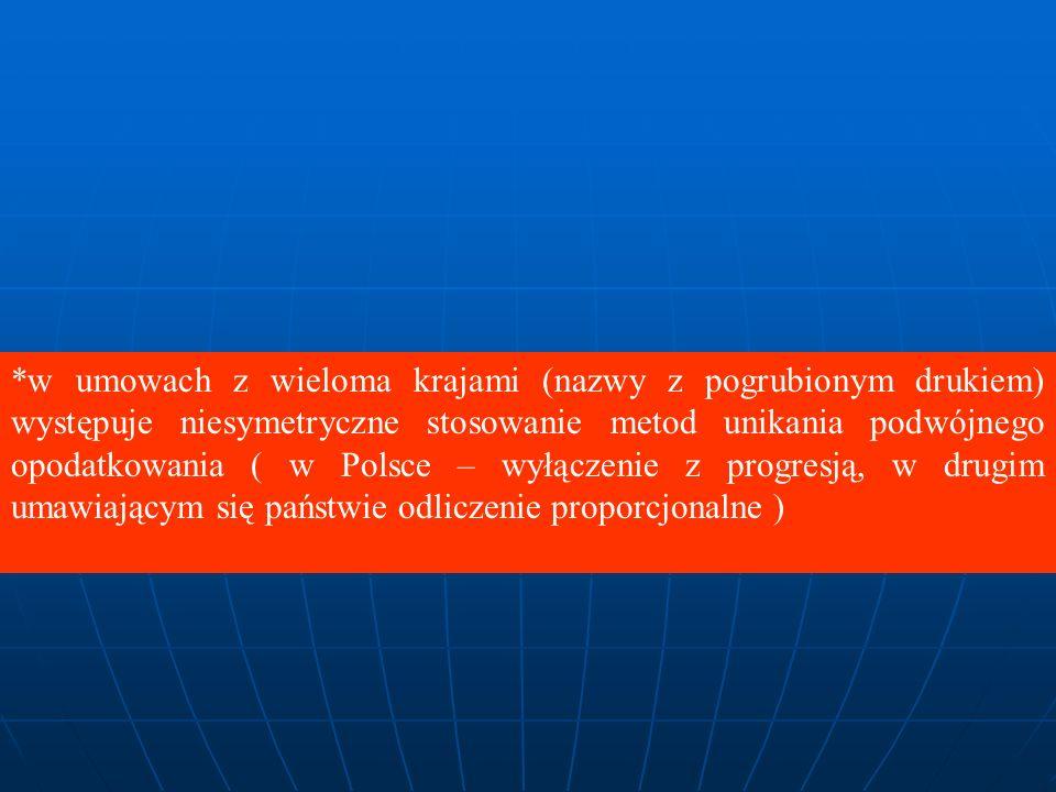 *w umowach z wieloma krajami (nazwy z pogrubionym drukiem) występuje niesymetryczne stosowanie metod unikania podwójnego opodatkowania ( w Polsce – wyłączenie z progresją, w drugim umawiającym się państwie odliczenie proporcjonalne )