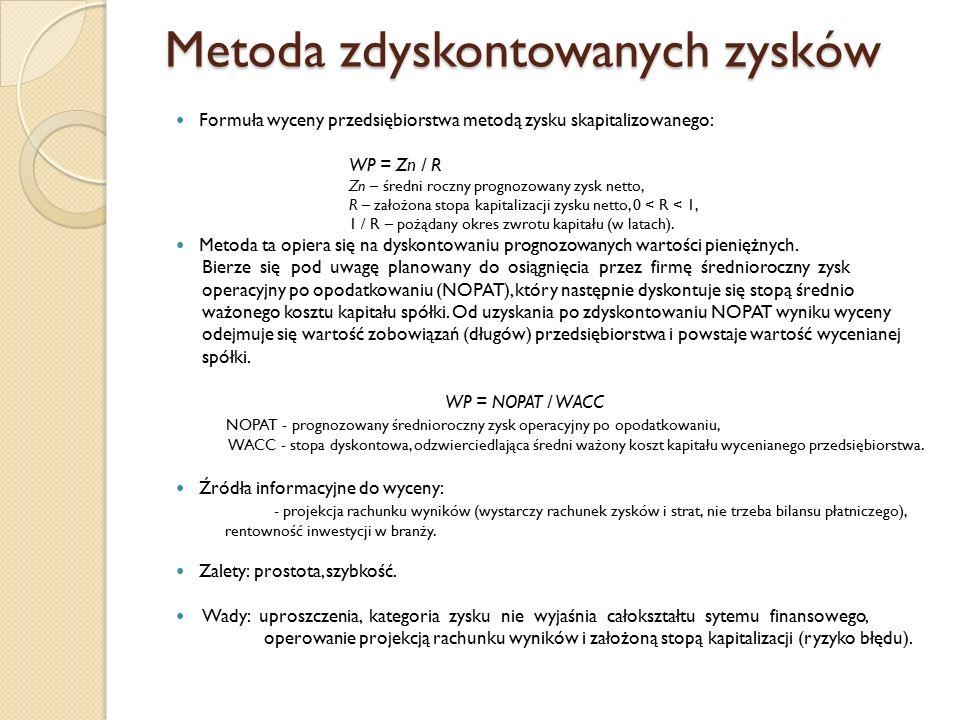 Metoda zdyskontowanych zysków Formuła wyceny przedsiębiorstwa metodą zysku skapitalizowanego: WP = Zn / R Zn – średni roczny prognozowany zysk netto,