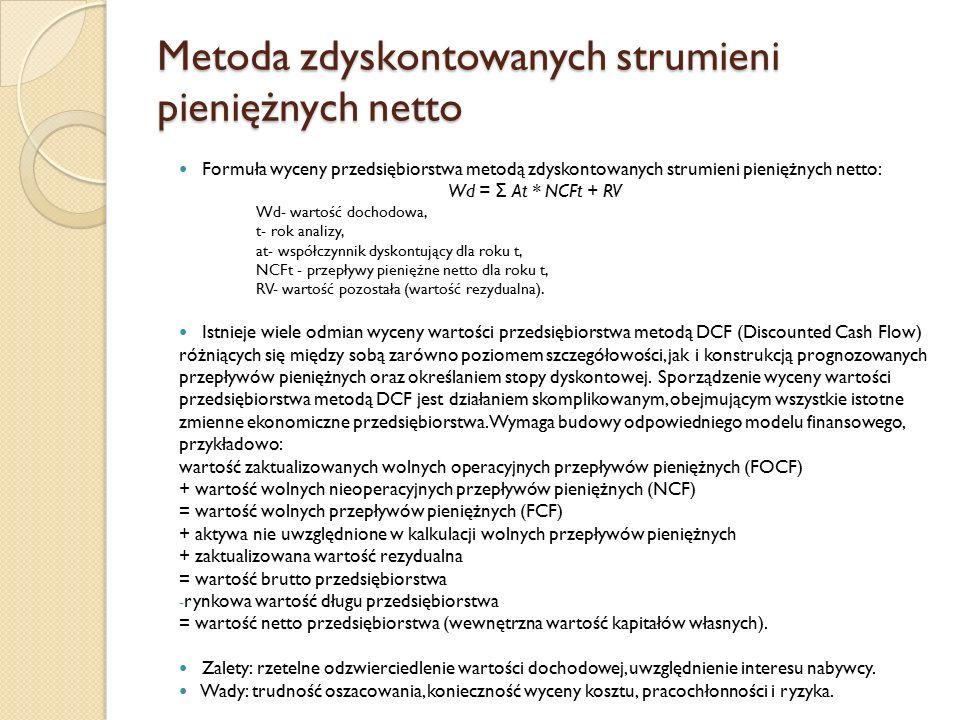 Metoda zdyskontowanych strumieni pieniężnych netto Formuła wyceny przedsiębiorstwa metodą zdyskontowanych strumieni pieniężnych netto: Wd = Σ At * NCFt + RV Wd- wartość dochodowa, t- rok analizy, at- współczynnik dyskontujący dla roku t, NCFt - przepływy pieniężne netto dla roku t, RV- wartość pozostała (wartość rezydualna).