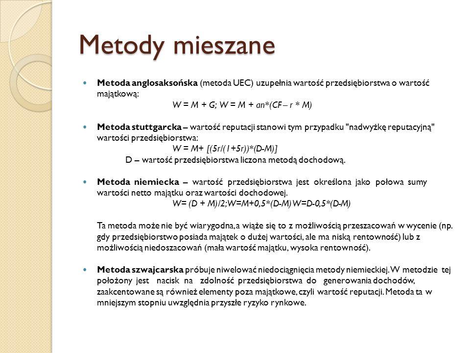 Metody mieszane Metoda anglosaksońska (metoda UEC) uzupełnia wartość przedsiębiorstwa o wartość majątkową: W = M + G;W = M + an*(CF – r * M) Metoda stuttgarcka – wartość reputacji stanowi tym przypadku nadwyżkę reputacyjną wartości przedsiębiorstwa: W = M+ [(5r/(1+5r))*(D-M)] D – wartość przedsiębiorstwa liczona metodą dochodową.