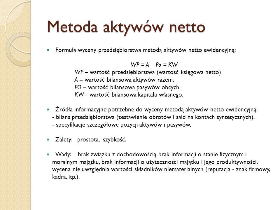 Metoda aktywów netto Formuła wyceny przedsiębiorstwa metodą aktywów netto ewidencyjną: WP = A – Po = KW WP – wartość przedsiębiorstwa (wartość księgowa netto) A – wartość bilansowa aktywów razem, PO – wartość bilansowa pasywów obcych, KW - wartość bilansowa kapitału własnego.