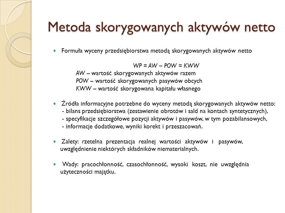 Metoda skorygowanych aktywów netto Formuła wyceny przedsiębiorstwa metodą skorygowanych aktywów netto WP = AW – POW = KWW AW – wartość skorygowanych a