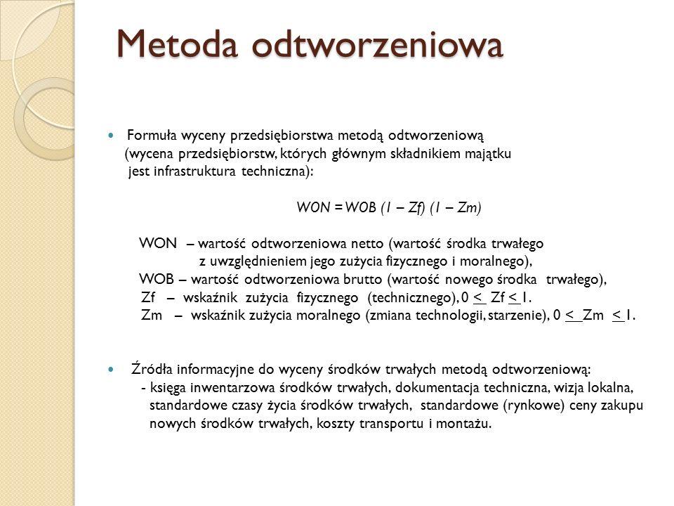 Metoda odtworzeniowa Formuła wyceny przedsiębiorstwa metodą odtworzeniową (wycena przedsiębiorstw, których głównym składnikiem majątku jest infrastruktura techniczna): WON = WOB (1 – Zf) (1 – Zm) WON – wartość odtworzeniowa netto (wartość środka trwałego z uwzględnieniem jego zużycia fizycznego i moralnego), WOB – wartość odtworzeniowa brutto (wartość nowego środka trwałego), Zf – wskaźnik zużycia fizycznego (technicznego), 0 < Zf < 1.