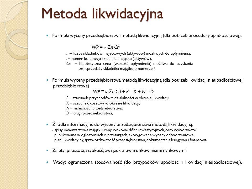 Metoda likwidacyjna Formuła wyceny przedsiębiorstwa metodą likwidacyjną (dla potrzeb procedury upadłościowej): WP = i= I Σ n Cri n – liczba składników majątkowych (aktywów) możliwych do upłynnienia, i – numer kolejnego składnika majątku (aktywów), Cri – hipotetyczna cena (wartość upłynnienia) możliwa do uzyskania ze sprzedaży składnika majątku o numerze i.