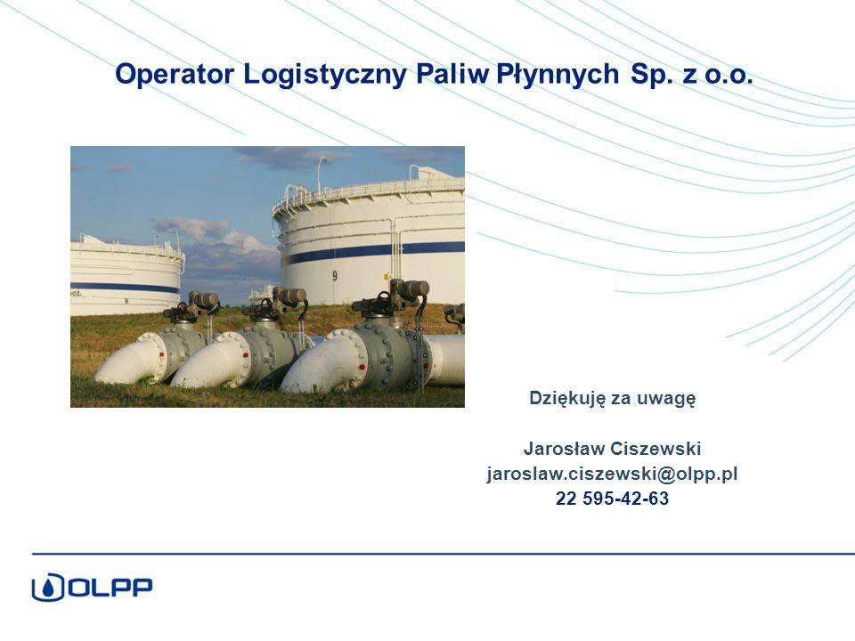 Dziękuję za uwagę Jarosław Ciszewski jaroslaw.ciszewski@olpp.pl 22 595-42-63 Operator Logistyczny Paliw Płynnych Sp.