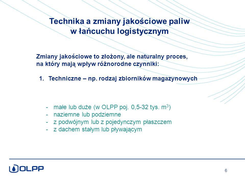 Technika a zmiany jakościowe paliw w łańcuchu logistycznym -małe lub duże (w OLPP poj.