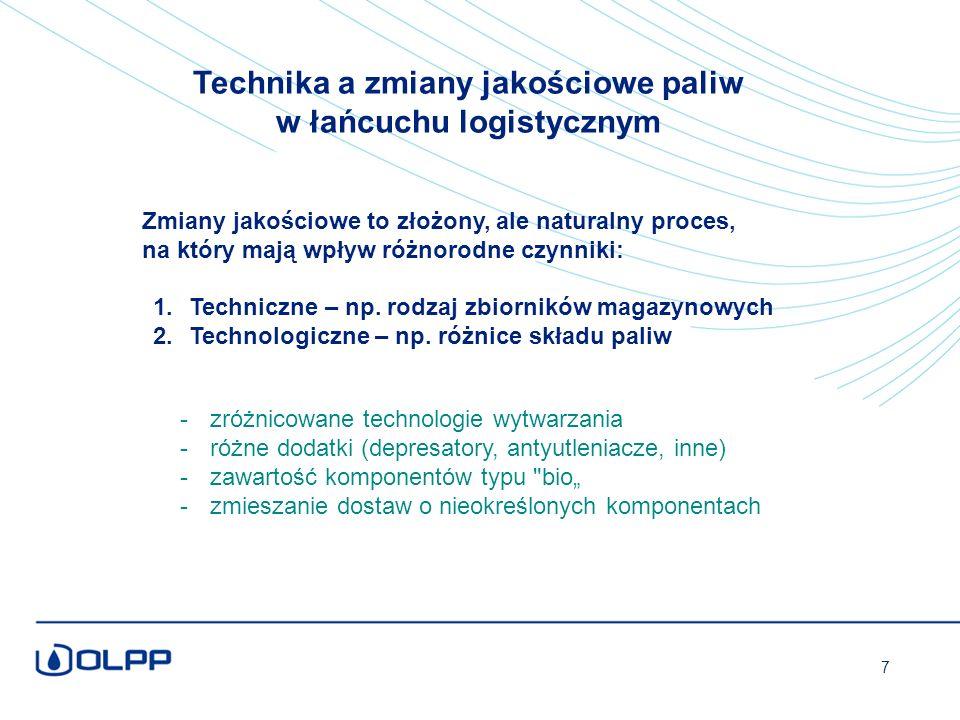 """-zróżnicowane technologie wytwarzania -różne dodatki (depresatory, antyutleniacze, inne) -zawartość komponentów typu bio"""" -zmieszanie dostaw o nieokreślonych komponentach 1.Techniczne – np."""