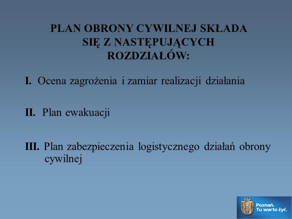 PLAN OBRONY CYWILNEJ SKŁADA SIĘ Z NASTĘPUJĄCYCH ROZDZIAŁÓW: I. Ocena zagrożenia i zamiar realizacji działania II. Plan ewakuacji III. Plan zabezpiecze