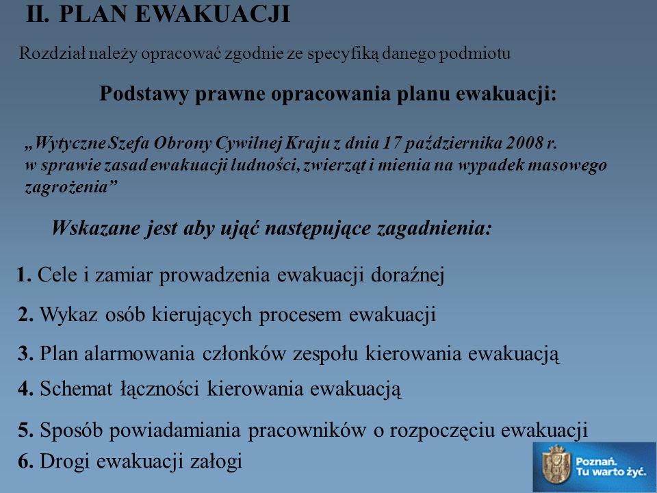 II. PLAN EWAKUACJI Rozdział należy opracować zgodnie ze specyfiką danego podmiotu 1. Cele i zamiar prowadzenia ewakuacji doraźnej 2. Wykaz osób kieruj