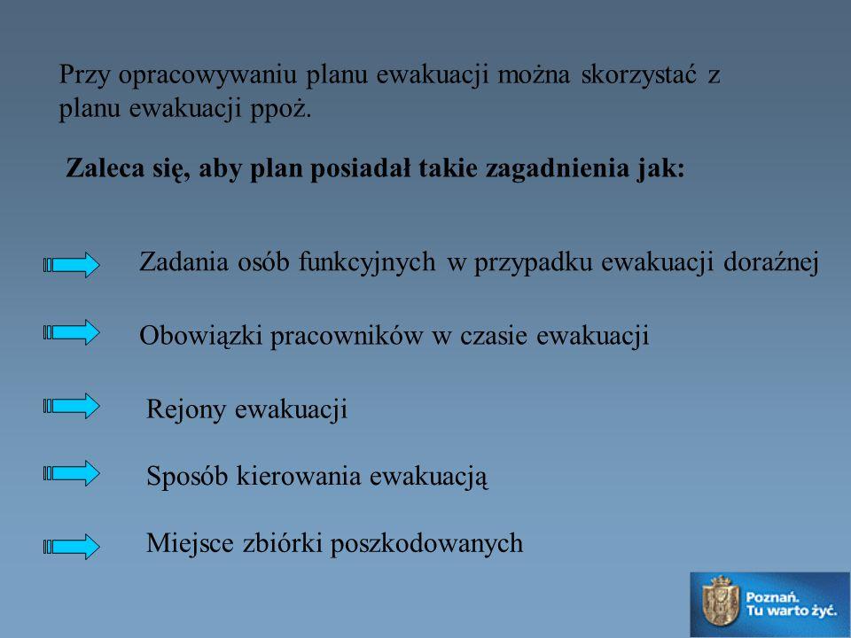 Przy opracowywaniu planu ewakuacji można skorzystać z planu ewakuacji ppoż. Zadania osób funkcyjnych w przypadku ewakuacji doraźnej Rejony ewakuacji M