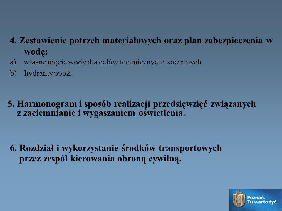 4. Zestawienie potrzeb materiałowych oraz plan zabezpieczenia w wodę: a) własne ujęcie wody dla celów technicznych i socjalnych b) hydranty ppoż. 5. H