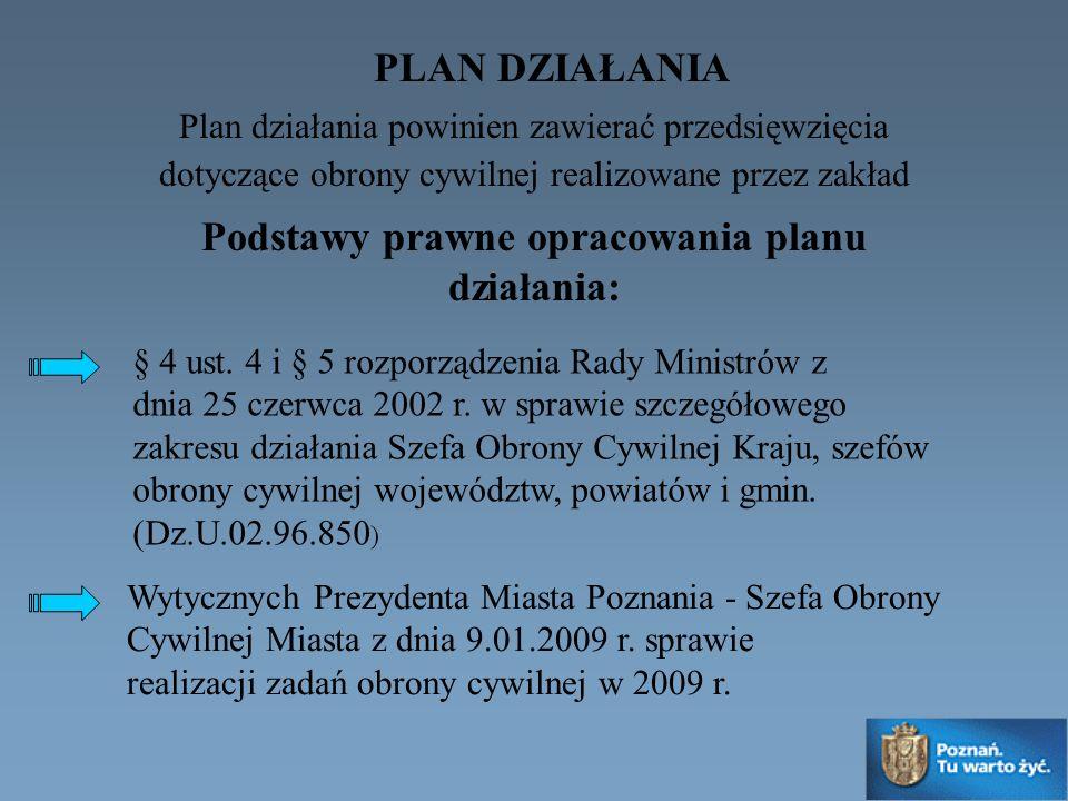 Plan działania powinien zawierać przedsięwzięcia dotyczące obrony cywilnej realizowane przez zakład § 4 ust. 4 i § 5 rozporządzenia Rady Ministrów z d