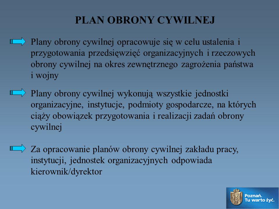 PLAN OBRONY CYWILNEJ Plany obrony cywilnej opracowuje się w celu ustalenia i przygotowania przedsięwzięć organizacyjnych i rzeczowych obrony cywilnej na okres zewnętrznego zagrożenia państwa i wojny Plany obrony cywilnej wykonują wszystkie jednostki organizacyjne, instytucje, podmioty gospodarcze, na których ciąży obowiązek przygotowania i realizacji zadań obrony cywilnej Za opracowanie planów obrony cywilnej zakładu pracy, instytucji, jednostek organizacyjnych odpowiada kierownik/dyrektor