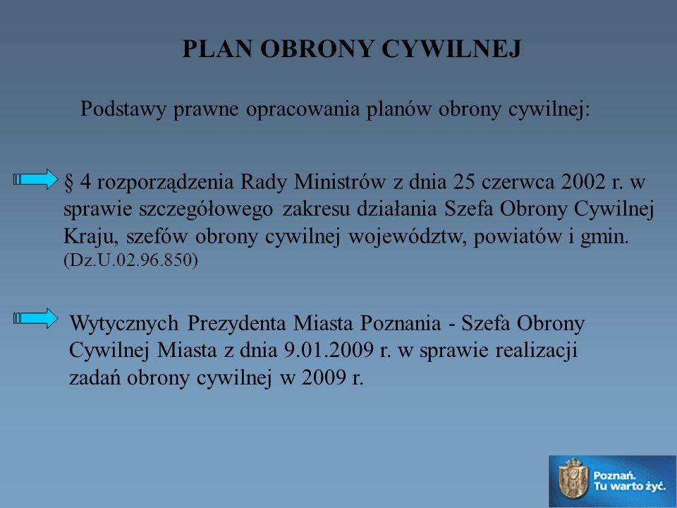 PLAN OBRONY CYWILNEJ § 4 rozporządzenia Rady Ministrów z dnia 25 czerwca 2002 r. w sprawie szczegółowego zakresu działania Szefa Obrony Cywilnej Kraju