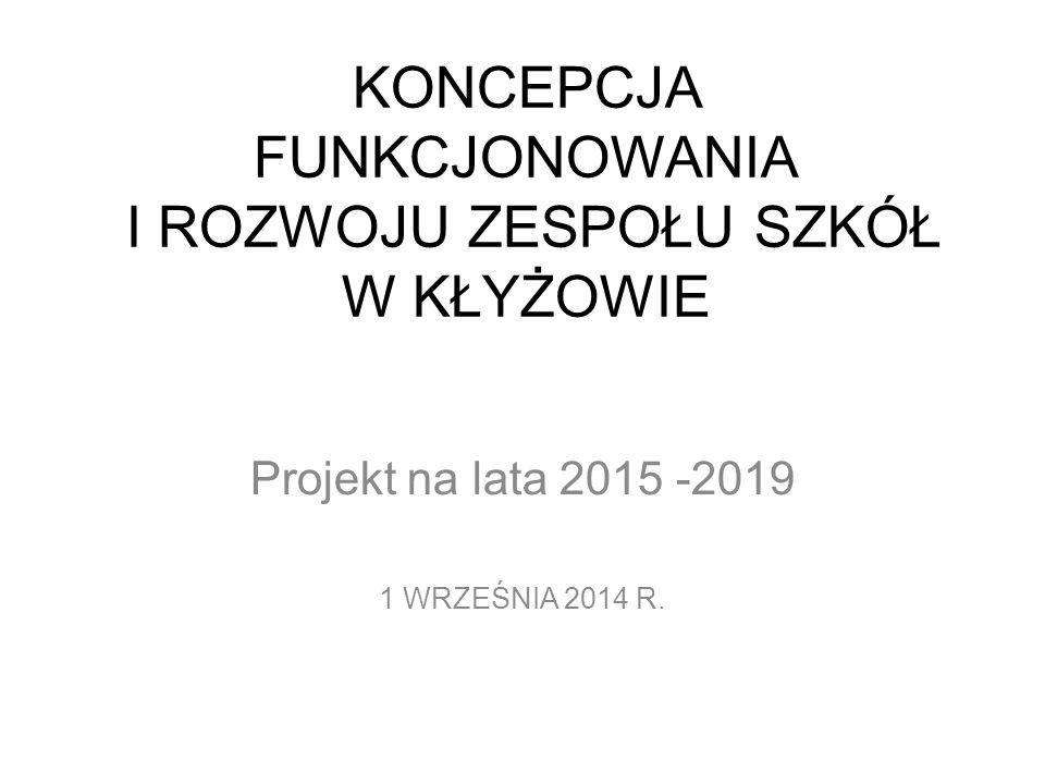 KONCEPCJA FUNKCJONOWANIA I ROZWOJU ZESPOŁU SZKÓŁ W KŁYŻOWIE Projekt na lata 2015 -2019 1 WRZEŚNIA 2014 R.
