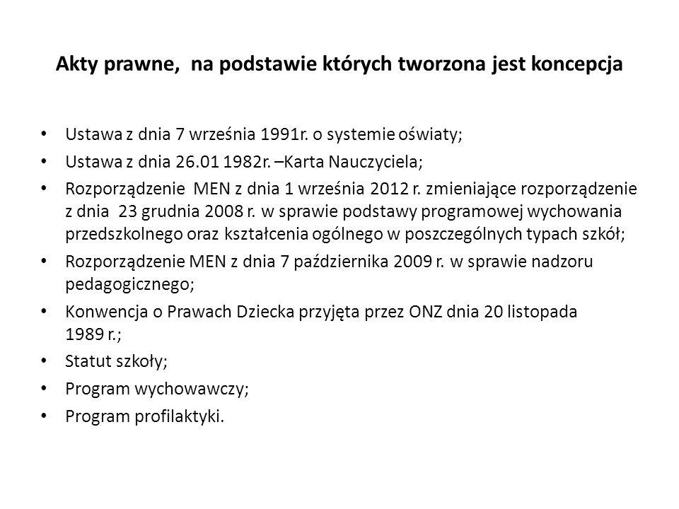 Akty prawne, na podstawie których tworzona jest koncepcja Ustawa z dnia 7 września 1991r.