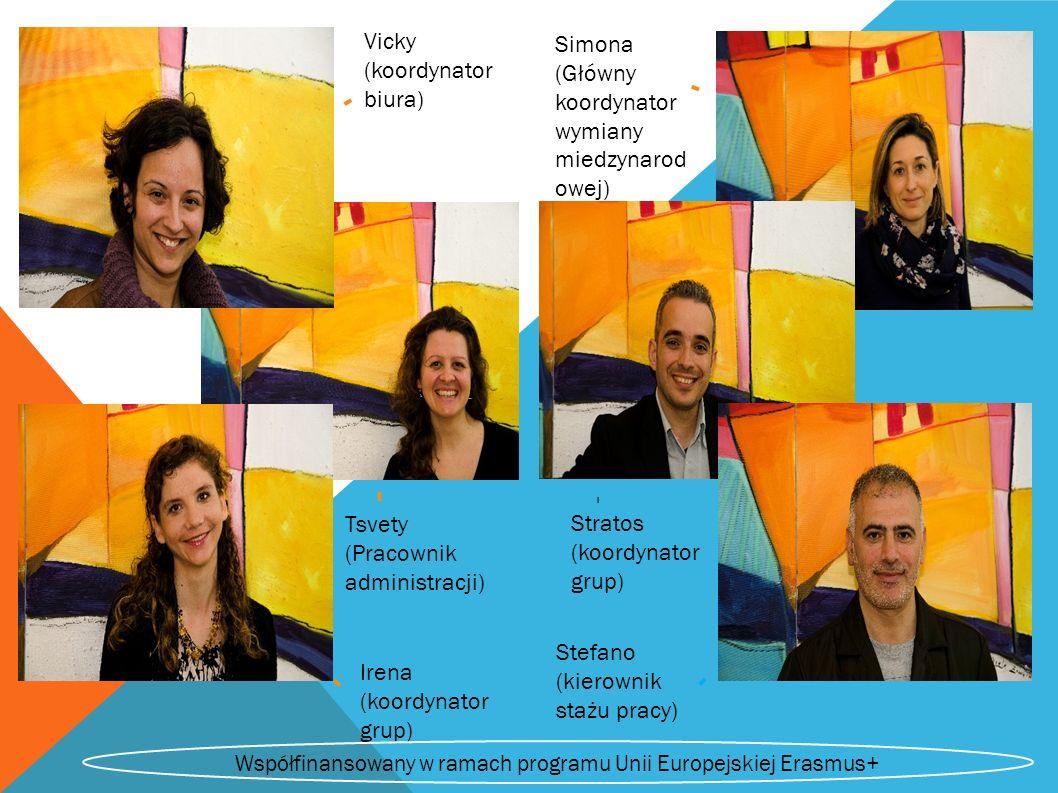 Vicky (koordynator biura) Simona (Główny koordynator wymiany miedzynarod owej) Tsvety (Pracownik administracji) - Irena (koordynator grup) Stratos (koordynator grup) - - - - Stefano (kierownik stażu pracy) - Współfinansowany w ramach programu Unii Europejskiej Erasmus+