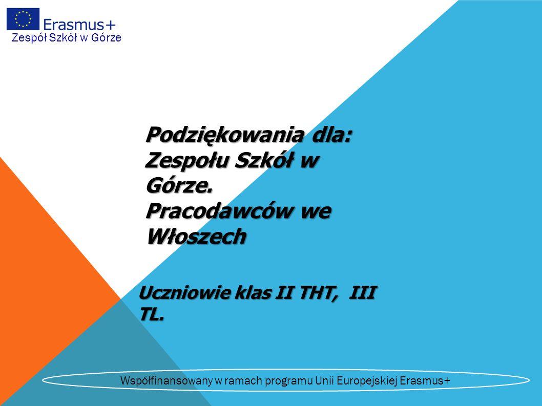 Zespół Szkół w Górze Podziękowania dla: Zespołu Szkół w Górze.