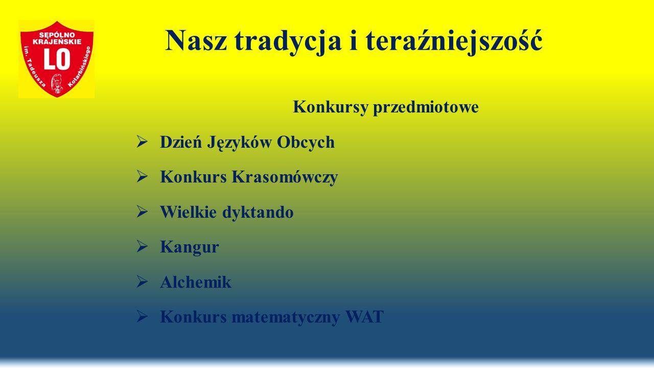 Nasz tradycja i teraźniejszość Konkursy przedmiotowe  Dzień Języków Obcych  Konkurs Krasomówczy  Wielkie dyktando  Kangur  Alchemik  Konkurs matematyczny WAT