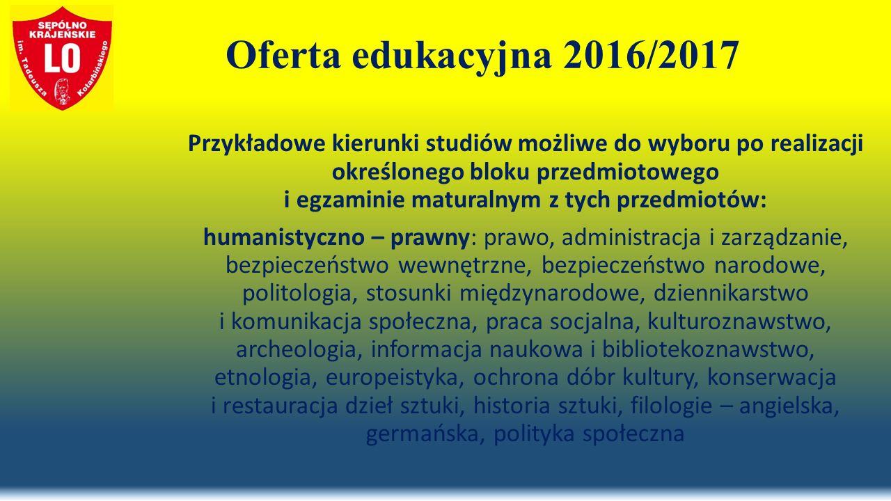 Oferta edukacyjna 2016/2017 Przykładowe kierunki studiów możliwe do wyboru po realizacji określonego bloku przedmiotowego i egzaminie maturalnym z tych przedmiotów: humanistyczno – prawny: prawo, administracja i zarządzanie, bezpieczeństwo wewnętrzne, bezpieczeństwo narodowe, politologia, stosunki międzynarodowe, dziennikarstwo i komunikacja społeczna, praca socjalna, kulturoznawstwo, archeologia, informacja naukowa i bibliotekoznawstwo, etnologia, europeistyka, ochrona dóbr kultury, konserwacja i restauracja dzieł sztuki, historia sztuki, filologie – angielska, germańska, polityka społeczna