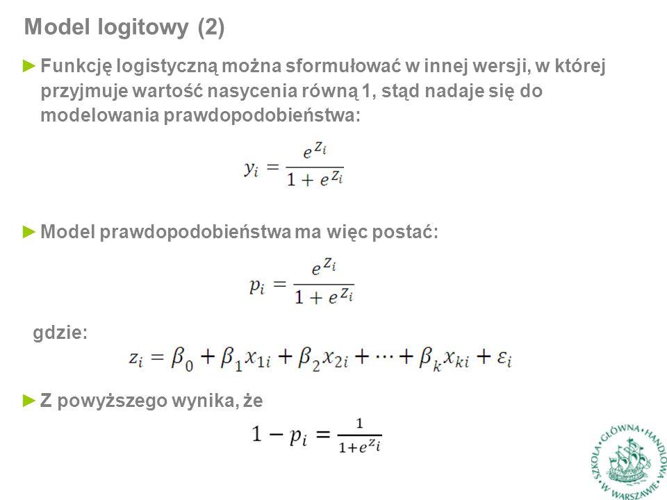 ►Funkcję logistyczną można sformułować w innej wersji, w której przyjmuje wartość nasycenia równą 1, stąd nadaje się do modelowania prawdopodobieństwa: Model logitowy (2) ►Model prawdopodobieństwa ma więc postać: gdzie: ►Z powyższego wynika, że