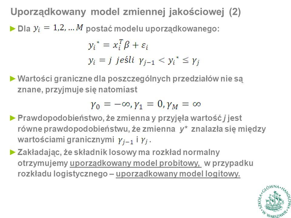 ►Dla postać modelu uporządkowanego: Uporządkowany model zmiennej jakościowej (2) ►Wartości graniczne dla poszczególnych przedziałów nie są znane, przyjmuje się natomiast ►Prawdopodobieństwo, że zmienna y przyjęła wartość j jest równe prawdopodobieństwu, że zmienna y* znalazła się między wartościami granicznymi i.