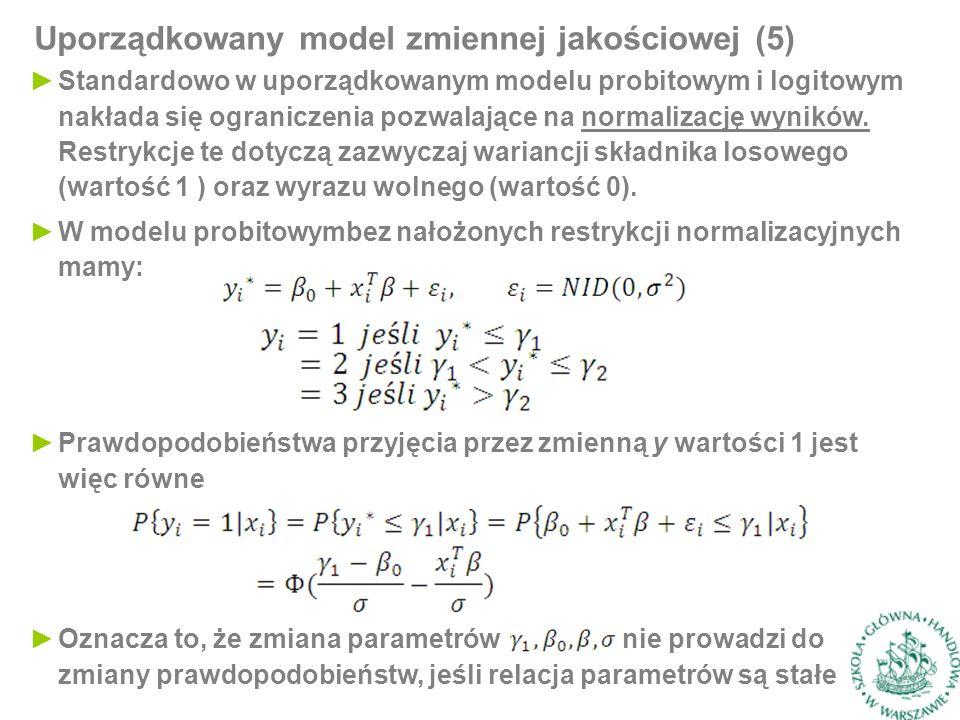 ►Standardowo w uporządkowanym modelu probitowym i logitowym nakłada się ograniczenia pozwalające na normalizację wyników.