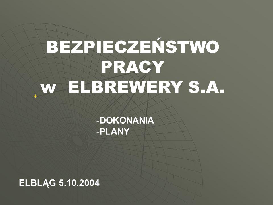 BEZPIECZEŃSTWO PRACY w ELBREWERY S.A. -D-DOKONANIA -P-PLANY ELBLĄG 5.10.2004
