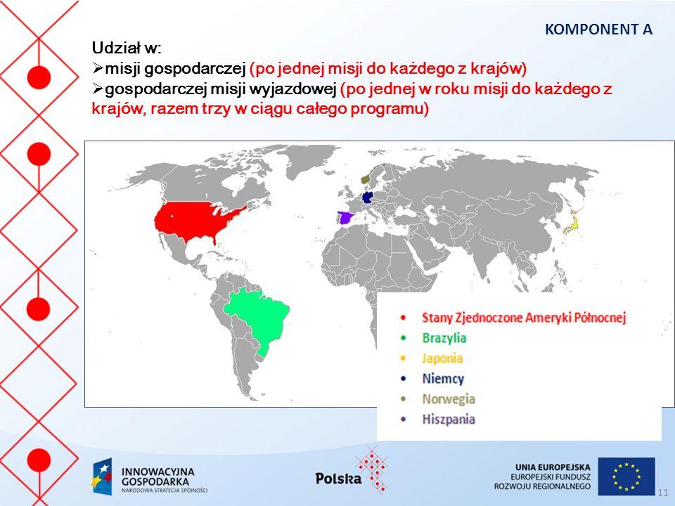 Udział w:  misji gospodarczej (po jednej misji do każdego z krajów)  gospodarczej misji wyjazdowej (po jednej w roku misji do każdego z krajów, razem trzy w ciągu całego programu) KOMPONENT A 11