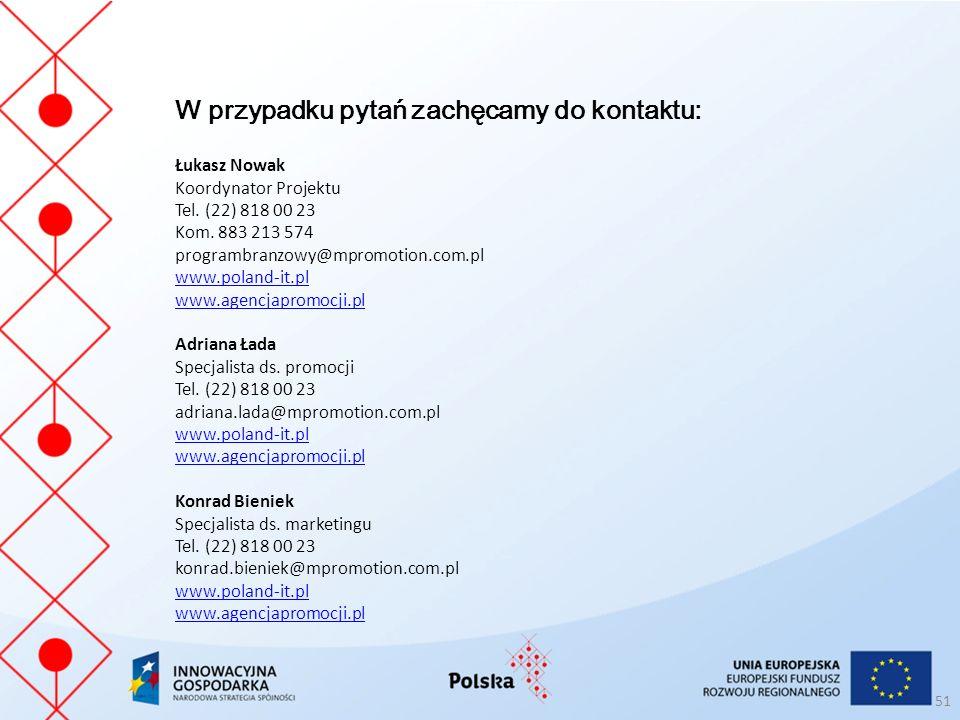 51 W przypadku pytań zachęcamy do kontaktu: Łukasz Nowak Koordynator Projektu Tel.